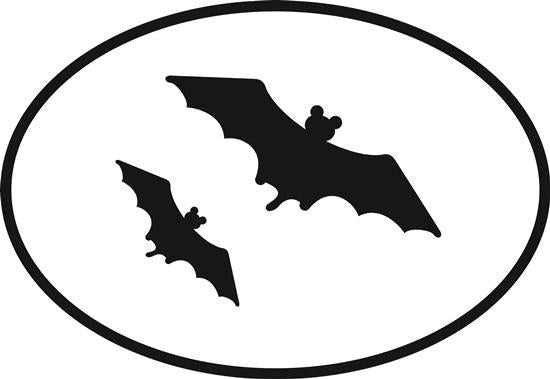 Bats decal from Oval Envy.  Great price for a durable vinyl decal.  We've got animals, beaches, dogs, cats and more!  Search our catalog for your next Euro Oval Decal.