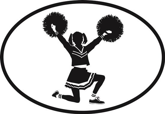 Cheerleader decal from Oval Envy.  Great price for a durable vinyl decal.  We've got animals, beaches, dogs, cats and more!  Search our catalog for your next Euro Oval Decal.