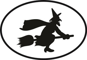 Witch decal from Oval Envy.  Great price for a durable vinyl decal.  We've got animals, beaches, dogs, cats and more!  Search our catalog for your next Euro Oval Decal.