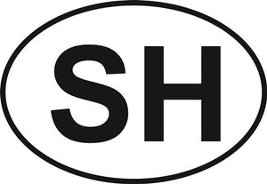 Stone Harbor (SH) decal from Oval Envy.  Great price for a durable vinyl decal.  We've got animals, beaches, dogs, cats and more!  Search our catalog for your next Euro Oval Decal.