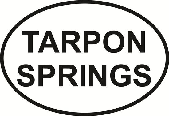 Tarpon Springs decal from Oval Envy.  Great price for a durable vinyl decal.  We've got animals, beaches, dogs, cats and more!  Search our catalog for your next Euro Oval Decal.