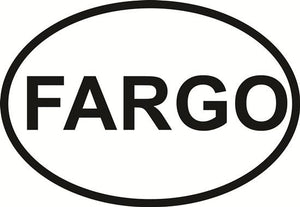 Fargo decal from Oval Envy.  Great price for a durable vinyl decal.  We've got animals, beaches, dogs, cats and more!  Search our catalog for your next Euro Oval Decal.