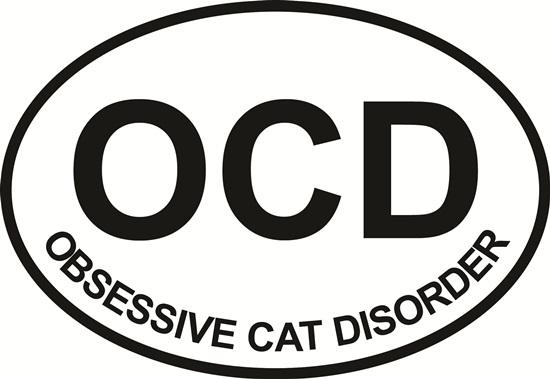 Obsessive Cat Disorder decal from Oval Envy.  Great price for a durable vinyl decal.  We've got animals, beaches, dogs, cats and more!  Search our catalog for your next Euro Oval Decal.