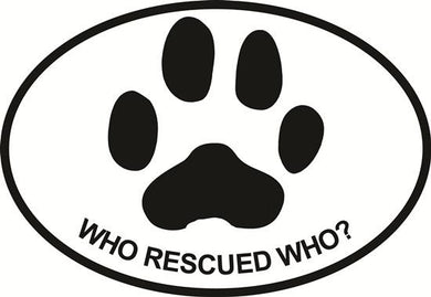 Dog Rescue decal from Oval Envy.  Great price for a durable vinyl decal.  We've got animals, beaches, dogs, cats and more!  Search our catalog for your next Euro Oval Decal.