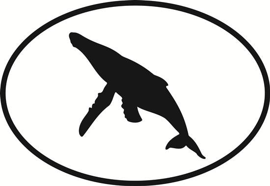 Humpback Whale decal from Oval Envy.  Great price for a durable vinyl decal.  We've got animals, beaches, dogs, cats and more!  Search our catalog for your next Euro Oval Decal.