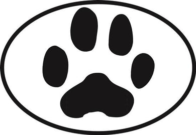 Dog Paw decal from Oval Envy.  Great price for a durable vinyl decal.  We've got animals, beaches, dogs, cats and more!  Search our catalog for your next Euro Oval Decal.