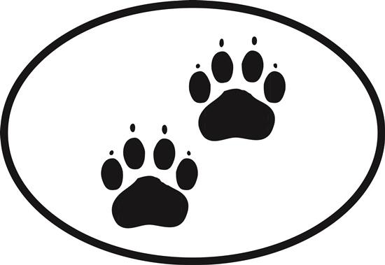 Cat Paws decal from Oval Envy.  Great price for a durable vinyl decal.  We've got animals, beaches, dogs, cats and more!  Search our catalog for your next Euro Oval Decal.