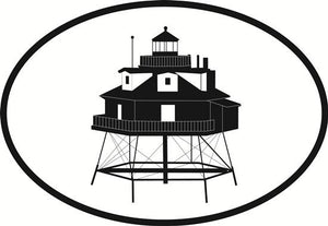 Thomas Point Lighthouse decal from Oval Envy.  Great price for a durable vinyl decal.  We've got animals, beaches, dogs, cats and more!  Search our catalog for your next Euro Oval Decal.