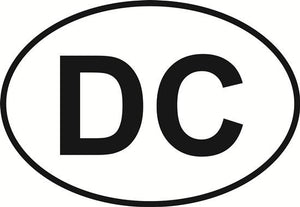 District of Columbia (DC) decal from Oval Envy.  Great price for a durable vinyl decal.  We've got animals, beaches, dogs, cats and more!  Search our catalog for your next Euro Oval Decal.