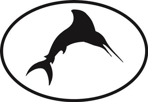 Marlin decal from Oval Envy.  Great price for a durable vinyl decal.  We've got animals, beaches, dogs, cats and more!  Search our catalog for your next Euro Oval Decal.
