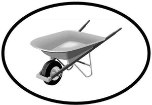 Wheelbarrow decal from Oval Envy.  Great price for a durable vinyl decal.  We've got animals, beaches, dogs, cats and more!  Search our catalog for your next Euro Oval Decal.