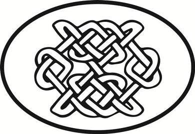 Celtic Knot decal from Oval Envy.  Great price for a durable vinyl decal.  We've got animals, beaches, dogs, cats and more!  Search our catalog for your next Euro Oval Decal.