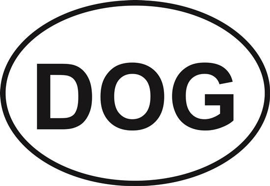 Dog (DOG) decal from Oval Envy.  Great price for a durable vinyl decal.  We've got animals, beaches, dogs, cats and more!  Search our catalog for your next Euro Oval Decal.