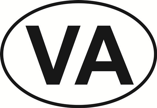 Virginia (VA) decal from Oval Envy.  Great price for a durable vinyl decal.  We've got animals, beaches, dogs, cats and more!  Search our catalog for your next Euro Oval Decal.