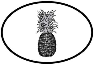 Pineapple decal from Oval Envy.  Great price for a durable vinyl decal.  We've got animals, beaches, dogs, cats and more!  Search our catalog for your next Euro Oval Decal.