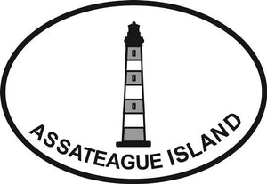 Assateague Light, VA decal from Oval Envy.  Great price for a durable vinyl decal.  We've got animals, beaches, dogs, cats and more!  Search our catalog for your next Euro Oval Decal.
