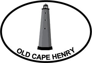 Old Cape Henry Lighthouse decal from Oval Envy.  Great price for a durable vinyl decal.  We've got animals, beaches, dogs, cats and more!  Search our catalog for your next Euro Oval Decal.