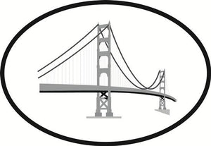 Golden Gate decal from Oval Envy.  Great price for a durable vinyl decal.  We've got animals, beaches, dogs, cats and more!  Search our catalog for your next Euro Oval Decal.