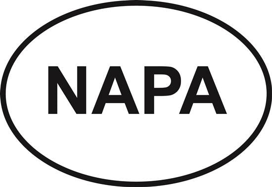 Napa decal from Oval Envy.  Great price for a durable vinyl decal.  We've got animals, beaches, dogs, cats and more!  Search our catalog for your next Euro Oval Decal.
