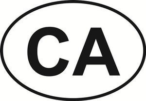 California decal from Oval Envy.  Great price for a durable vinyl decal.  We've got animals, beaches, dogs, cats and more!  Search our catalog for your next Euro Oval Decal.