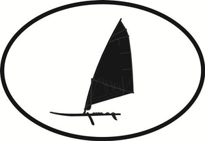 Windsurfing decal from Oval Envy.  Great price for a durable vinyl decal.  We've got animals, beaches, dogs, cats and more!  Search our catalog for your next Euro Oval Decal.