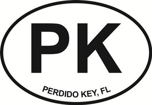 Perdido Key decal from Oval Envy.  Great price for a durable vinyl decal.  We've got animals, beaches, dogs, cats and more!  Search our catalog for your next Euro Oval Decal.