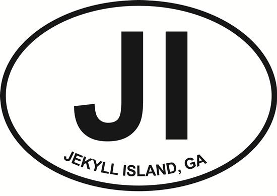 Jekyll Island decal from Oval Envy.  Great price for a durable vinyl decal.  We've got animals, beaches, dogs, cats and more!  Search our catalog for your next Euro Oval Decal.