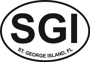 St. George Island decal from Oval Envy.  Great price for a durable vinyl decal.  We've got animals, beaches, dogs, cats and more!  Search our catalog for your next Euro Oval Decal.
