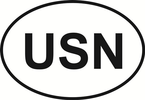 Navy (USN) decal from Oval Envy.  Great price for a durable vinyl decal.  We've got animals, beaches, dogs, cats and more!  Search our catalog for your next Euro Oval Decal.