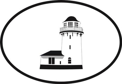 Brigantine Lighthouse decal from Oval Envy.  Great price for a durable vinyl decal.  We've got animals, beaches, dogs, cats and more!  Search our catalog for your next Euro Oval Decal.