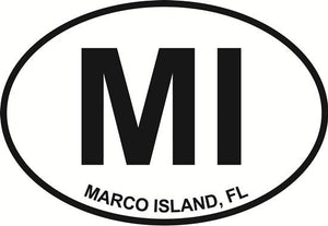 Marco Island decal from Oval Envy.  Great price for a durable vinyl decal.  We've got animals, beaches, dogs, cats and more!  Search our catalog for your next Euro Oval Decal.