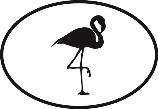 Flamingo decal from Oval Envy.  Great price for a durable vinyl decal.  We've got animals, beaches, dogs, cats and more!  Search our catalog for your next Euro Oval Decal.