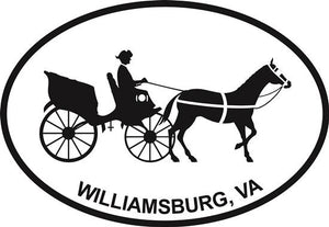 Williamsburg Carriage decal from Oval Envy.  Great price for a durable vinyl decal.  We've got animals, beaches, dogs, cats and more!  Search our catalog for your next Euro Oval Decal.