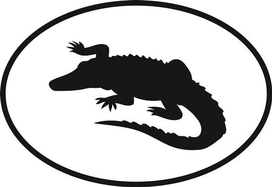 Alligator decal from Oval Envy.  Great price for a durable vinyl decal.  We've got animals, beaches, dogs, cats and more!  Search our catalog for your next Euro Oval Decal.