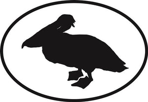 Pelican decal from Oval Envy.  Great price for a durable vinyl decal.  We've got animals, beaches, dogs, cats and more!  Search our catalog for your next Euro Oval Decal.