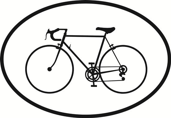 Bicycle decal from Oval Envy.  Great price for a durable vinyl decal.  We've got animals, beaches, dogs, cats and more!  Search our catalog for your next Euro Oval Decal.