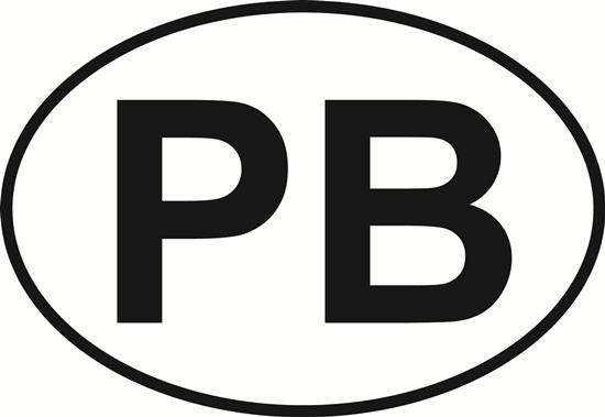PB (Palm Beach) decal from Oval Envy.  Great price for a durable vinyl decal.  We've got animals, beaches, dogs, cats and more!  Search our catalog for your next Euro Oval Decal.