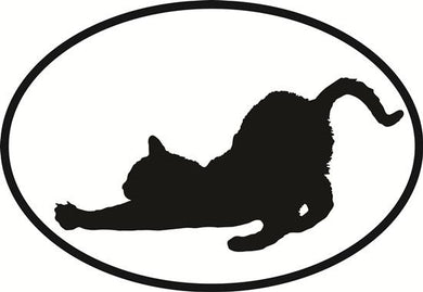 Cat Stretch decal from Oval Envy.  Great price for a durable vinyl decal.  We've got animals, beaches, dogs, cats and more!  Search our catalog for your next Euro Oval Decal.
