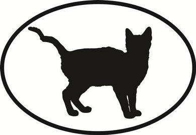 Cat Tail Up decal from Oval Envy.  Great price for a durable vinyl decal.  We've got animals, beaches, dogs, cats and more!  Search our catalog for your next Euro Oval Decal.