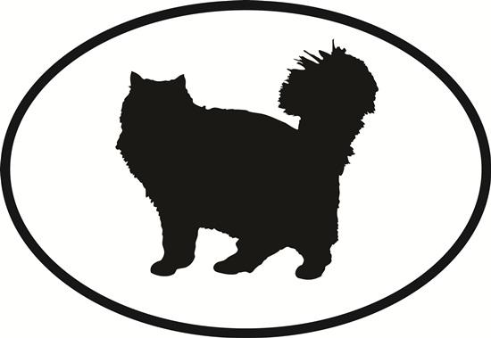 Longhaired Cat decal from Oval Envy.  Great price for a durable vinyl decal.  We've got animals, beaches, dogs, cats and more!  Search our catalog for your next Euro Oval Decal.