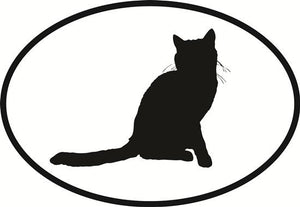 Cat Sit decal from Oval Envy.  Great price for a durable vinyl decal.  We've got animals, beaches, dogs, cats and more!  Search our catalog for your next Euro Oval Decal.