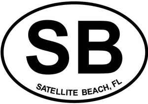 Satellite Beach decal from Oval Envy.  Great price for a durable vinyl decal.  We've got animals, beaches, dogs, cats and more!  Search our catalog for your next Euro Oval Decal.