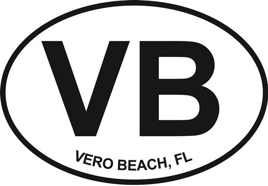 Vero Beach (VB) decal from Oval Envy.  Great price for a durable vinyl decal.  We've got animals, beaches, dogs, cats and more!  Search our catalog for your next Euro Oval Decal.