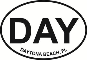 Daytona Beach (DAY) decal from Oval Envy.  Great price for a durable vinyl decal.  We've got animals, beaches, dogs, cats and more!  Search our catalog for your next Euro Oval Decal.