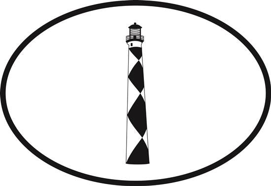 Cape Lookout decal from Oval Envy.  Great price for a durable vinyl decal.  We've got animals, beaches, dogs, cats and more!  Search our catalog for your next Euro Oval Decal.