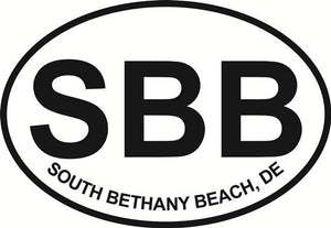 South Bethany Beach (SBB) decal from Oval Envy.  Great price for a durable vinyl decal.  We've got animals, beaches, dogs, cats and more!  Search our catalog for your next Euro Oval Decal.