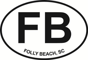 Folly Beach decal from Oval Envy.  Great price for a durable vinyl decal.  We've got animals, beaches, dogs, cats and more!  Search our catalog for your next Euro Oval Decal.