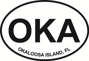 Okaloosa Island decal from Oval Envy.  Great price for a durable vinyl decal.  We've got animals, beaches, dogs, cats and more!  Search our catalog for your next Euro Oval Decal.