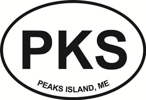 Peaks Island decal from Oval Envy.  Great price for a durable vinyl decal.  We've got animals, beaches, dogs, cats and more!  Search our catalog for your next Euro Oval Decal.
