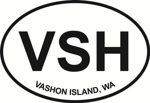 Vashon Island decal from Oval Envy.  Great price for a durable vinyl decal.  We've got animals, beaches, dogs, cats and more!  Search our catalog for your next Euro Oval Decal.
